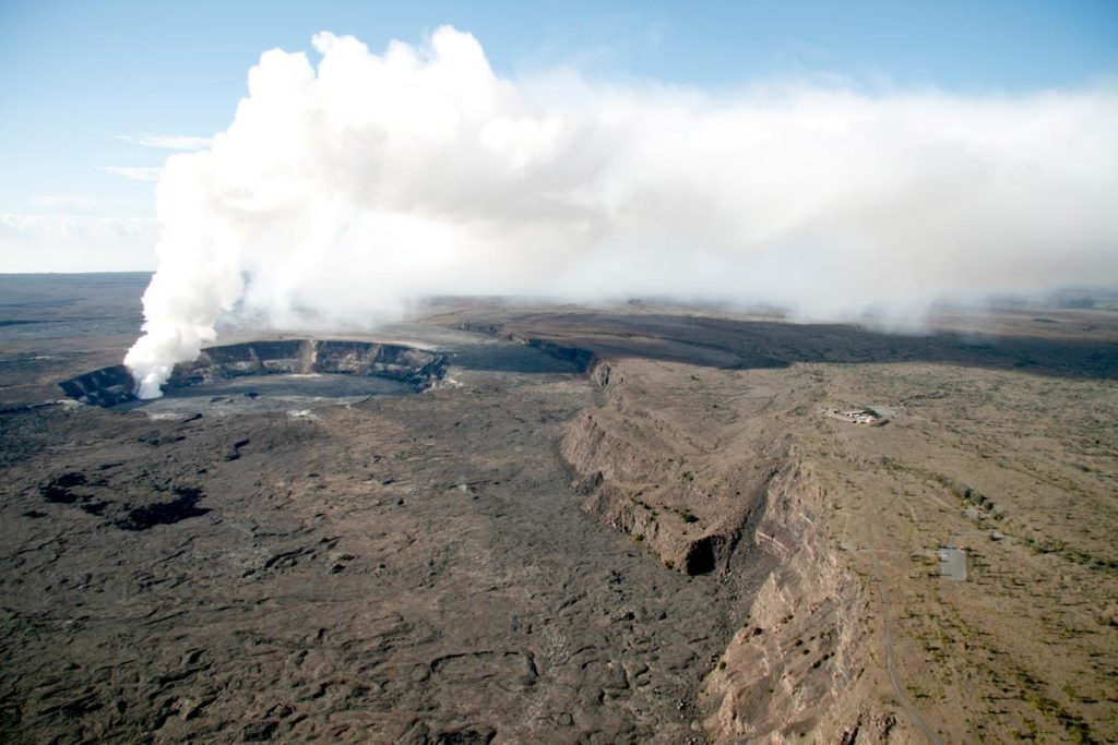 An eruption at Hawaii Volcanoes National Park